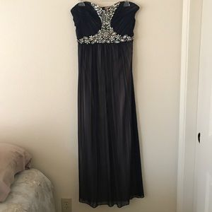 Nude and Navy Blue Prom Dress